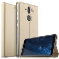 Stand Luxury PU kožené klopové puzdro na Nokia 8 Sirocco a Nokia 9 - zlaté