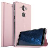 Stand Luxury PU kožené klopové puzdro na Nokia 8 Sirocco a Nokia 9 - ružovozlaté