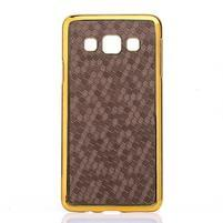 Elegantný obal na Samsung Galaxy A3 - hnědy se zlatým lemem