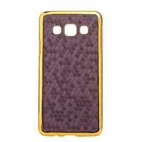 Elegantný obal na Samsung Galaxy A3 - fialový se zlatým lemem