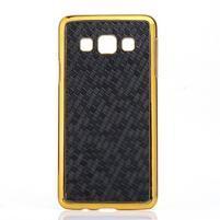 Elegantný obal na Samsung Galaxy A3 - čierny se zlatým lemem