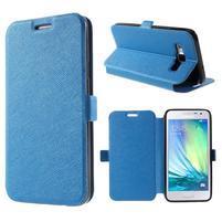 Klopové kožené puzdro na Samsung Galaxy A3 - modré
