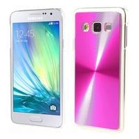 Metalický plastový obal na Samsung Galaxy A3 - růžový