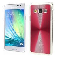 Metalický plastový obal na Samsung Galaxy A3 - červený