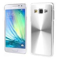 Metalický plastový obal na Samsung Galaxy A3 - strieborný