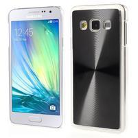 Metalický plastový obal na Samsung Galaxy A3 - čierny