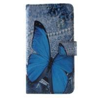 Koženkové puzdro pre Samsung Galaxy A5 (2016) - modrý motýl