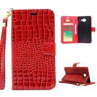 Croco peňaženkové puzdro Samsung Galaxy A5 (2016) - červené
