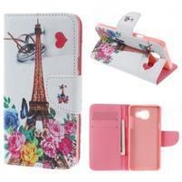 Softy peňaženkové puzdro pre Samsung Galaxy A5 (2016) - Eiffelka a kvety