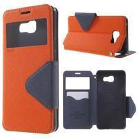 Peňaženkové puzdro s okienkom pre Samsung Galaxy A5 (2016) - oranžové