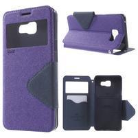 Peňaženkové puzdro s okienkom pre Samsung Galaxy A5 (2016) - fialové
