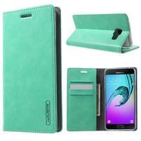 Moon PU kožené puzdro pre Samsung Galaxy A5 (2016) - cyan