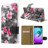 Kvetinové peňaženkové puzdro pre Samsung Galaxy A5 (2016) - čierne