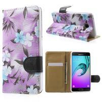 Květinové peněženkové pouzdro na Samsung Galaxy A5 (2016) - fialové
