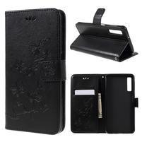 Print PU kožené peňaženkové puzdro na mobil Samsung Galaxy A7 (2018) - čierne