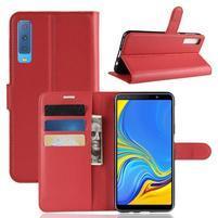 Skin PU kožené flipové puzdro na Samsung Galaxy A7 (2018) - červené