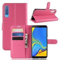Skin PU kožené flipové puzdro na Samsung Galaxy A7 (2018) - rose