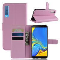 Skin PU kožené flipové puzdro na Samsung Galaxy A7 (2018) - ružové