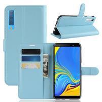 Skin PU kožené flipové puzdro na Samsung Galaxy A7 (2018) - modré