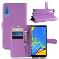 Skin PU kožené flipové puzdro na Samsung Galaxy A7 (2018) - fialové