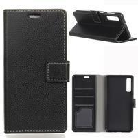 Litch PU kožené peňaženkové puzdro na mobil Samsung Galaxy A7 (2018) - čierne