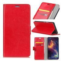 Crazy PU kožené peňaženkové puzdro na Samsung Galaxy J4+ - červené