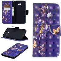 Patt PU kožené flipové puzdro na Samsung Galaxy J4+ - fialové motýle