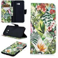 Patt PU kožené flipové puzdro na Samsung Galaxy J4+ - listy a kvety