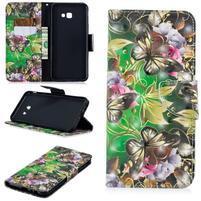 Patt PU kožené flipové puzdro na Samsung Galaxy J4+ - motýle a kvetiny