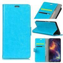 Crazy PU kožené peňaženkové puzdro na Samsung Galaxy J4+ - modré