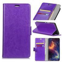 Crazy PU kožené peňaženkové puzdro na Samsung Galaxy J4+ - fialové