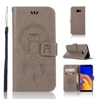 Dream PU kožené peňaženkové puzdro na Samsung Galaxy J4+ - sivé