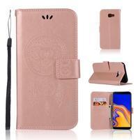 Dream PU kožené peňaženkové puzdro na Samsung Galaxy J4+ - ružovozlaté