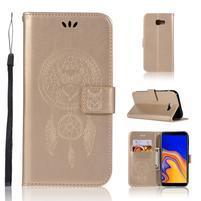 Dream PU kožené peňaženkové puzdro na Samsung Galaxy J4+ - zlaté