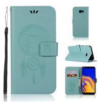 Dream PU kožené peňaženkové puzdro na Samsung Galaxy J4+ - cyan