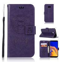 Dream PU kožené peňaženkové puzdro na Samsung Galaxy J4+ - fialové