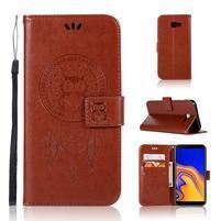Dream PU kožené peňaženkové puzdro na Samsung Galaxy J4+ - hnedé