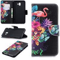 Patt PU kožené puzdro na mobil Samsung Galaxy J6+ - plameniak