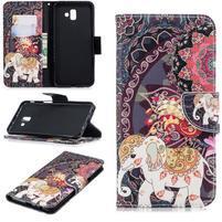 Patt PU kožené puzdro na mobil Samsung Galaxy J6+ - slon a páv