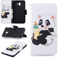 Patt PU kožené puzdro na mobil Samsung Galaxy J6+ - panda s fľaškou