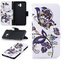 Patt PU kožené puzdro na mobil Samsung Galaxy J6+ - motýle a kvety