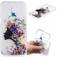 Print gélový obal na mobil Samsung Galaxy J6+ - kvetinová dievčina