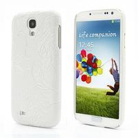 Kvetinové puzdro pre Samsung Galaxy S4 - biele