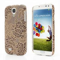 Kvetinové puzdro pre Samsung Galaxy S4 - hnedé