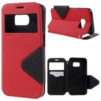 Diary puzdro s okienkom pre Samsung Galaxy S7 - červené