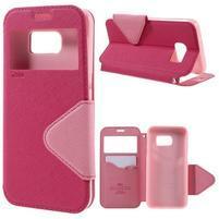 Diary puzdro s okienkom pre Samsung Galaxy S7 - rose