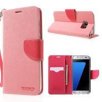 Mercury Orig PU kožené pouzdro na Samsung Galaxy S7 - růžové