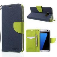 Mercury Orig PU kožené puzdro pre Samsung Galaxy S7 - tmavomodré