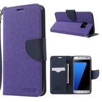 Mercury Orig PU kožené puzdro pre Samsung Galaxy S7 - fialové