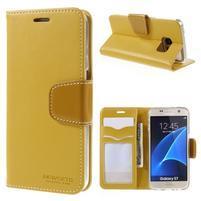 Rich PU kožené peňaženkové puzdro pre Samsung Galaxy S7 - žlté